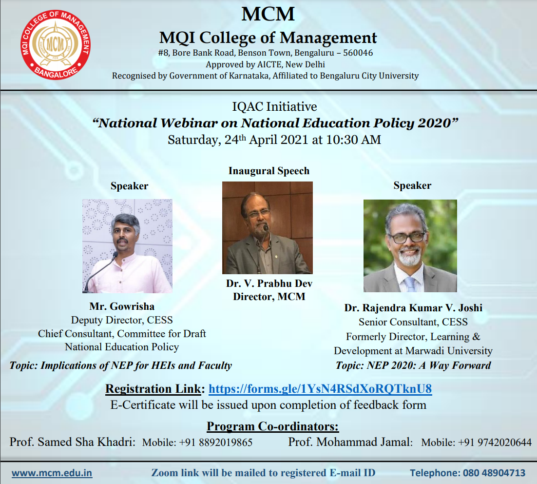 National Webinar on National Education Policy 2020